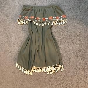 Off shoulder olive dress